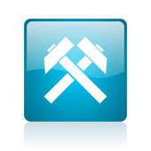 Mining blue square web glossy icon — Stock Photo