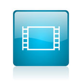 Movie blue square web glossy icon — Stock Photo