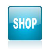 Icona lucido di negozio web quadrati blu — Foto Stock
