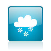 Weerbericht blauwe vierkante web glanzende pictogram — Stockfoto