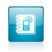 Telefonboken blå torget web blanka ikonen — Stockfoto