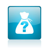 Riddle blue square web glossy icon — Stock Photo