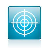 Icono brillante destino web cuadrado azul — Foto de Stock