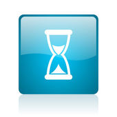 Time blue square web glossy icon — ストック写真
