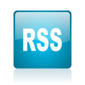 Rss blue square web glossy icon — Stock Photo