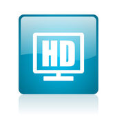 Hd display blue square web glossy icon — Stock Photo
