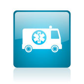 Ambulance blue square web glossy icon — Stock Photo