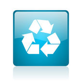 Recycle blue square web glossy icon — Stock Photo