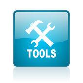 Tools blue square web glossy icon — Stock Photo