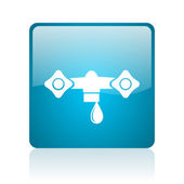 Water blue square web glossy icon — Stock Photo