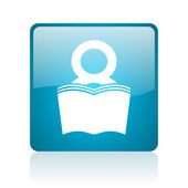 Book blue square web glossy icon — Stock Photo