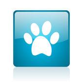 Icono brillante azul animales huella web cuadrado — Foto de Stock