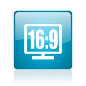 16 9 display blue square web glossy icon — Stock Photo
