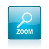 Blauwe vierkante web glanzende zoomsymbool — Stockfoto