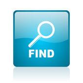 Encontrar web cuadrado azul brillante icono — Foto de Stock