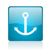 Anchor blue square web glossy icon — Stock Photo