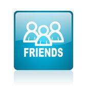 Friends blue square web glossy icon — Stock Photo
