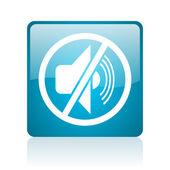 Mute blue square web glossy icon — Stock Photo