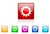 Gears web parlak icon set renkli kare — Stok fotoğraf