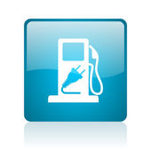 Fuel blue square web glossy icon — Foto de Stock