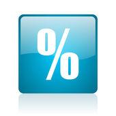 Percent blue square web glossy icon — Stock Photo