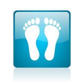 Footprint blue square web glossy icon — Stock Photo