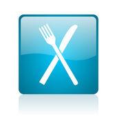 食物蓝色方形 web 光泽图标 — 图库照片