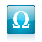 Omega blue square web glossy icon — Stock Photo