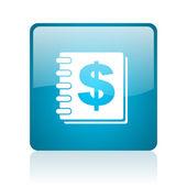 Geld blauwe vierkante web glanzende pictogram — Stockfoto
