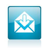 邮件蓝色方形 web 光泽图标 — 图库照片