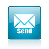 Send blue square web glossy icon — Stock Photo