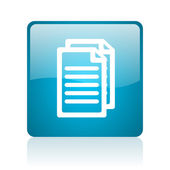 Document blue square web glossy icon — Stock Photo