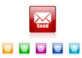 Send square web glossy icon colorful set — Stock Photo