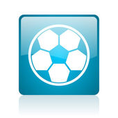 Soccer blue square web glossy icon — Stock Photo