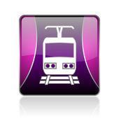Train violet square web glossy icon — Stock Photo