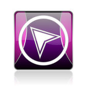 Navigation violet square web glossy icon — Stock Photo