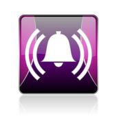 Alarm violet square web glossy icon — Stock Photo