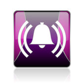 Alarm violet square web glossy icon — Stock Photo