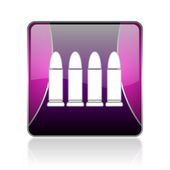 Ammunition violet square web glossy icon — Stock Photo