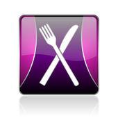 Ikona jedzenie fiołek web kwadrat — Zdjęcie stockowe