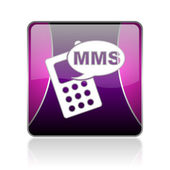 Mms violet square web glossy icon — Photo