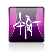 Windmill violet square web glossy icon — Stock Photo