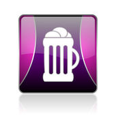 Beer violet square web glossy icon — Stock Photo