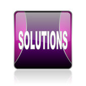 Solutions violet square web glossy icon — Stock Photo