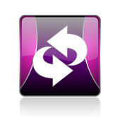 Rotate violet square web glossy icon — Stock Photo