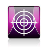 Target violet square web glossy icon — Stock Photo