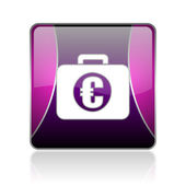 Financial violet square web glossy icon — Stock Photo