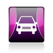 Car violet square web glossy icon — Stock Photo