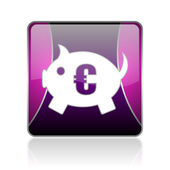 Piggy bank violet square web glossy icon — Stock Photo