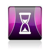 Time violet square web glossy icon — Stock Photo